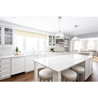 White Kitchen Island with Gray Barstools - Transitional ...