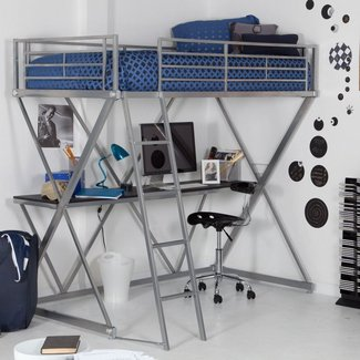 White Loft Bed With Desk Walmart | Home Design Ideas