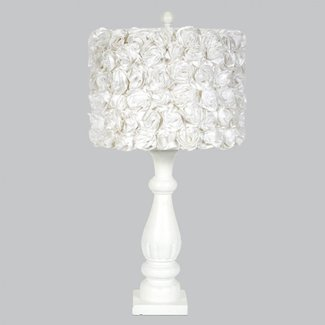 White Shabby Vintage Chic Lamp Base With White Rose Garden