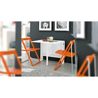 White Space Saving Table And Orange Folding Chairs ...