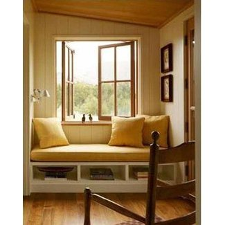 Window bench seat with storage | A Tumbleweed Tiny House