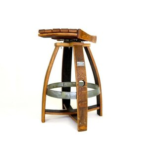 Wine Barrel Bar Stool with Memory Swivel