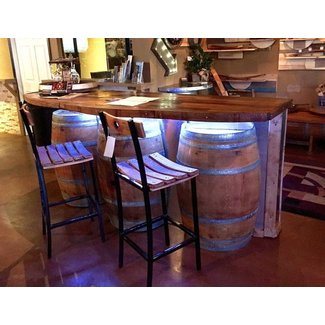Wine Barrel Bar with Hardwood Bar Top