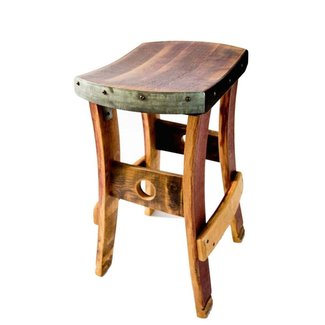 Wine Barrel Barstool, No Backrest - Rustic - Outdoor Bar
