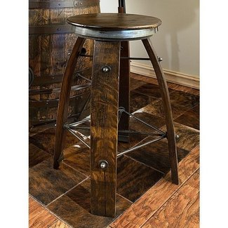 Wine Barrel Daisy Stave Bar Stool