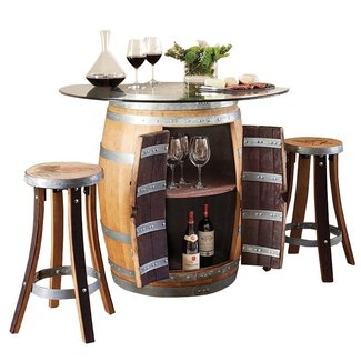 Wine Barrel Pub Table & 2 Stave Pub Stools Set #17440