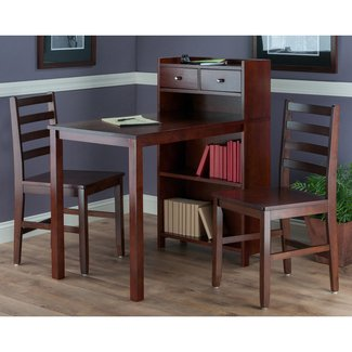 Winsome Tyler 3 Piece Pub Set with Storage Shelf and Ladderback Chairs