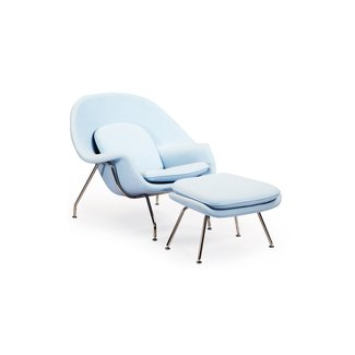 Womb Chair & Ottoman, Baby Blue Boucle Cashmere Wool |