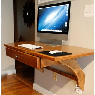 Wooden Wall Mounted Computer Desk DIY with iMac and ...