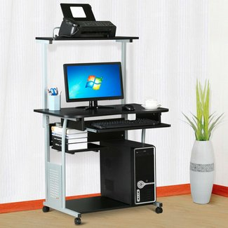 World Pride 2 Tier Computer Desk with Printer Shelf Stand Home Office Rolling Study Table Black