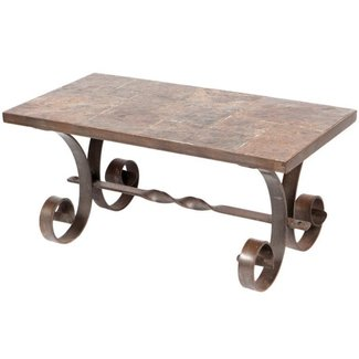 Wrought Iron and Slate Coffee Table