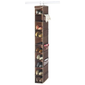 "Zober 10-Shelf Hanging Shoe Organizer, Shoe Holder for Closet - 10 Mesh Pockets for Accessories - Breathable Polypropylene, Java - 5 ½"" x 10 ½"" x 54"""
