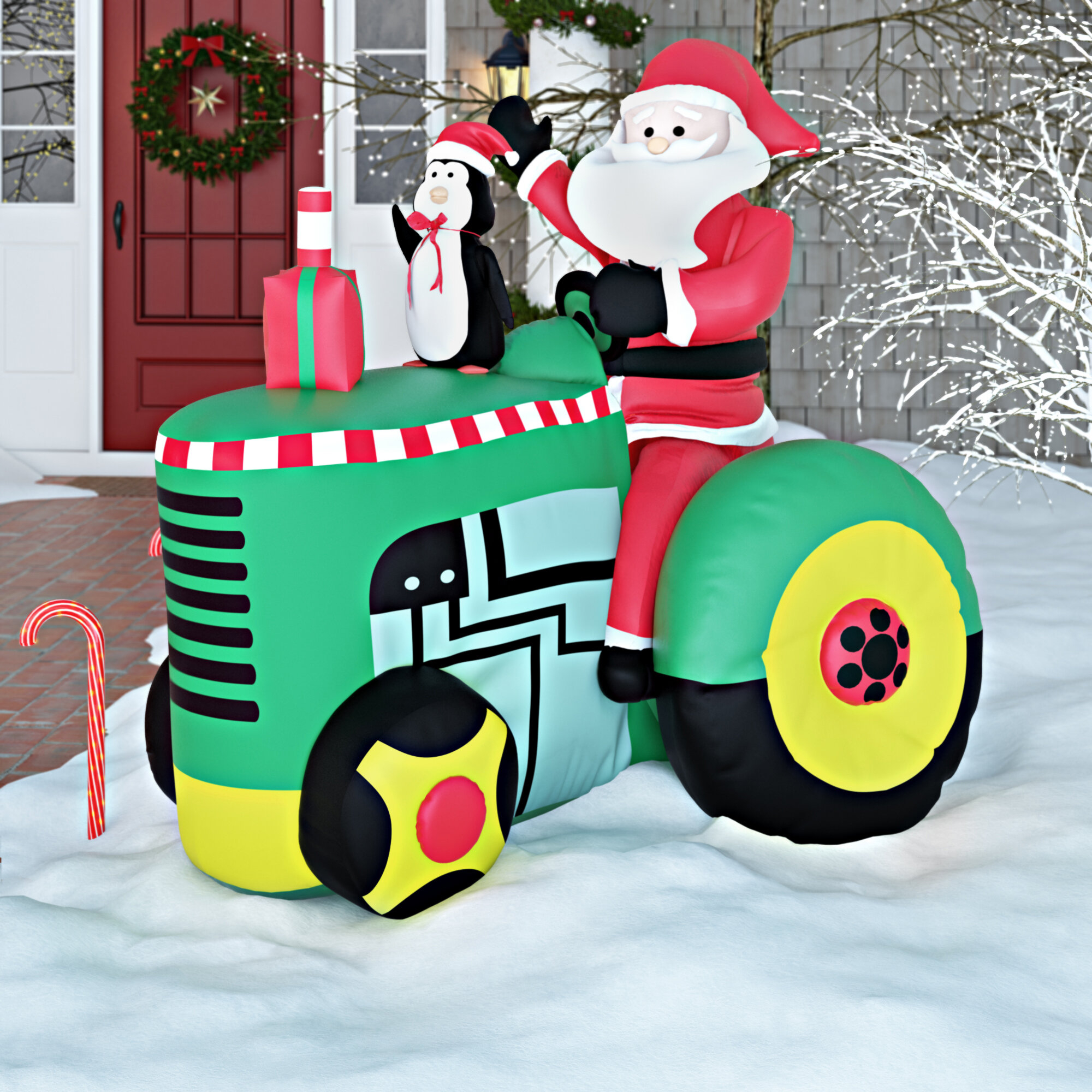 Inflatable Santa on Tractor Christmas Decoration