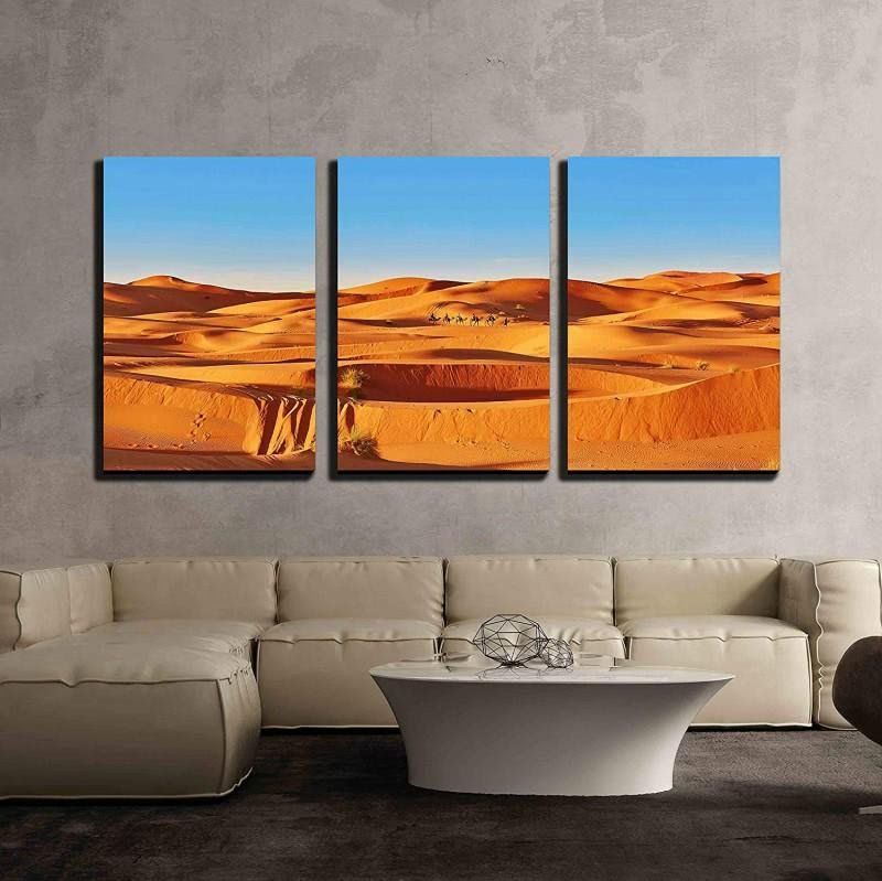 3 Piece Canvas Wall Art - Camel Going Through the Sand Dunes