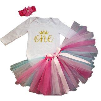 71fa696d2c1 AISHIONY 3PCs Baby Girls  1st Birthday Tutu Onesie Skirt Dress Headband  Outfit