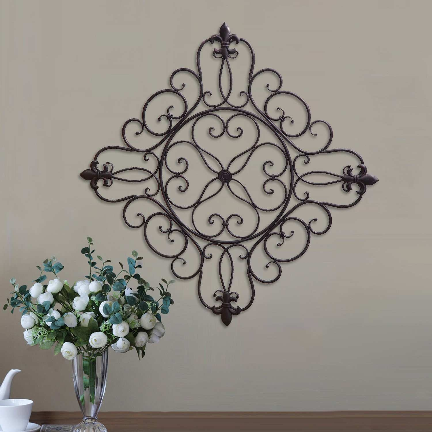 Alcott Hill Decorative Iron Square Hanging Scroll and Fleur de Lis Design Wall Décor
