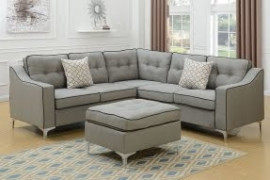 Gray Sectional with Ottoman