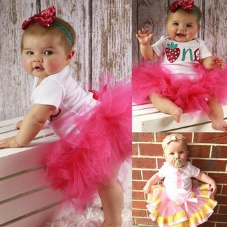 eae3798da00f Baby Girls 1st Birthday Cake Smash 3pcs Outfits Set Cotton Romper  Bodysuit+Tutu Dress+