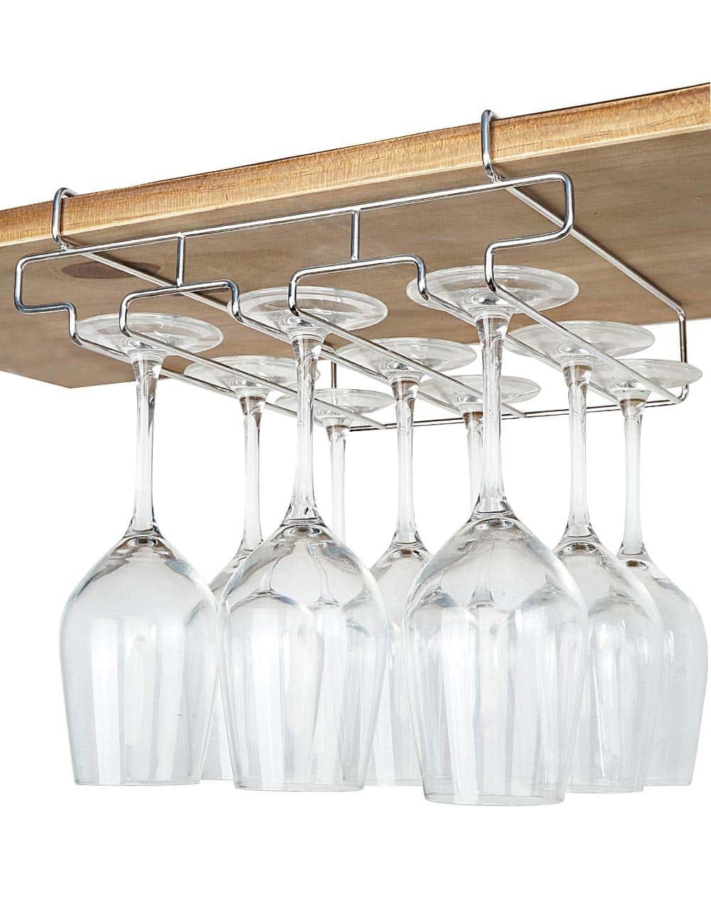 Bronze Foxom Stemware Rack Wine Glass Rack Hanger Holder With Screws Pack of 2 Row for Bar Home Cafe