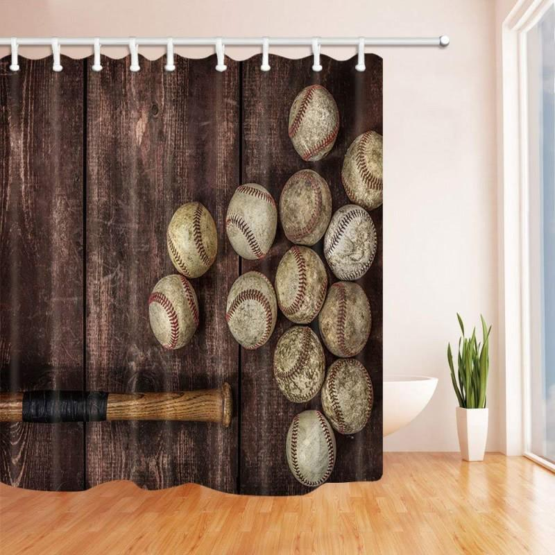Baseball Themed Shower Curtain