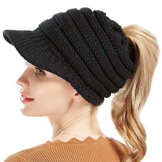 02b274be1f5 BeanieTail Warm Knit Messy High Bun Ponytail Visor Beanie Cap