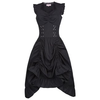 Belle Poque Vintage Black Steampunk Gothic Victorian Ruffled Dress Sleeveless BP000364