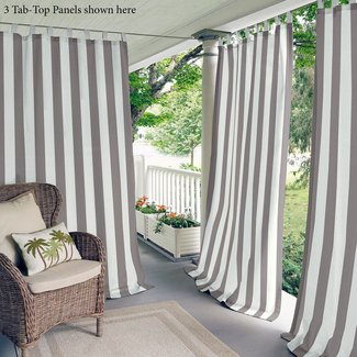Berklee Striped Light Filtering Outdoor Tab Top Single Curtain Panel