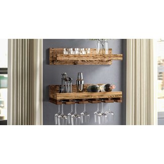 Bernon Rustic Wall Mounted Wine Glass Rack (Set of 2)