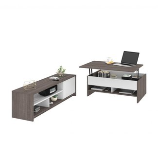 Bestar 2-Piece Lift-Top Storage Coffee Table and TV Stand Set