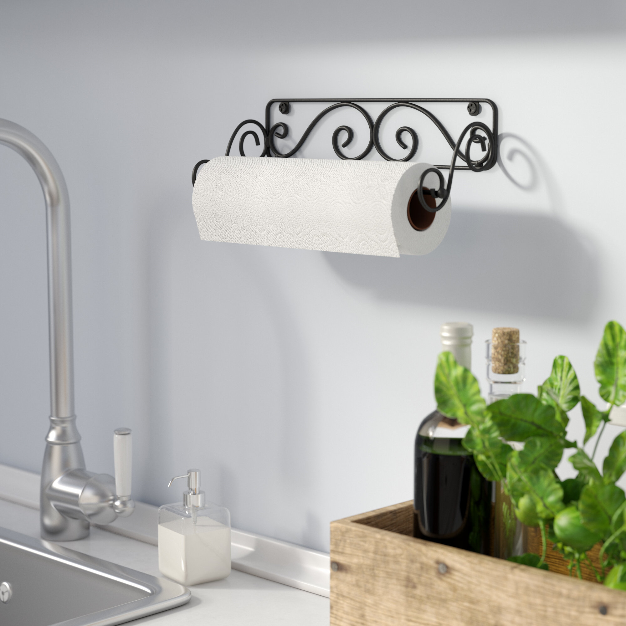 Black Scrollwork Paper Towel Holder