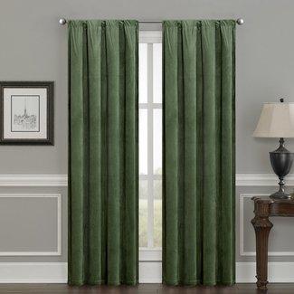 Bomar Luxury Velvet Solid Color Room Darkening Thermal Rod Pocket Curtain Panels (Set of 2)