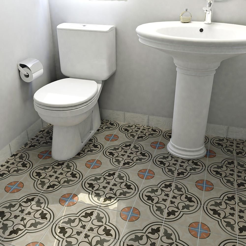 Cementa Ceramic Tile in Beige/Charcoal