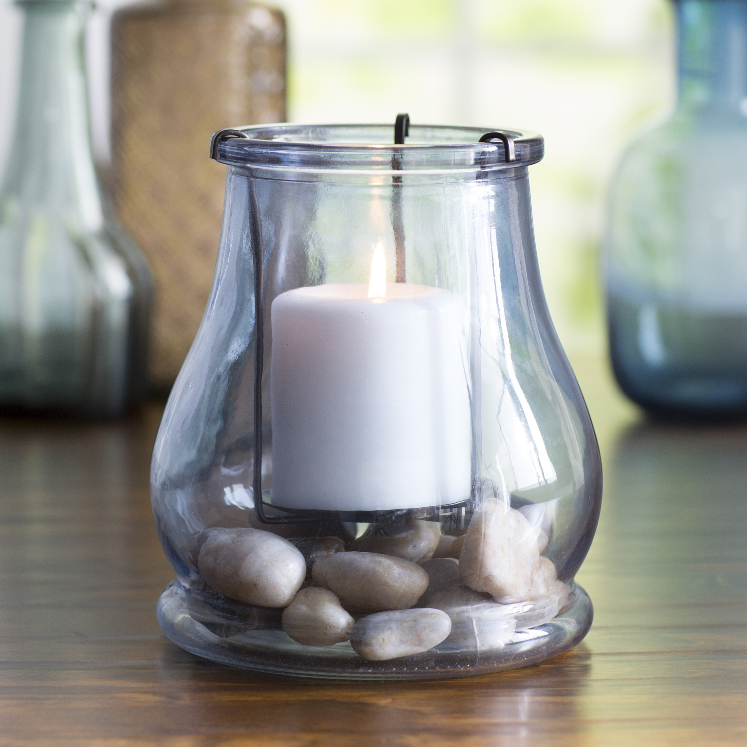 Coastal Glass Hurricane Candle Holder