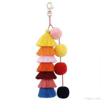Colorful Boho Pom Pom Tassel Bag Charm Key Chain Handbags Pendant