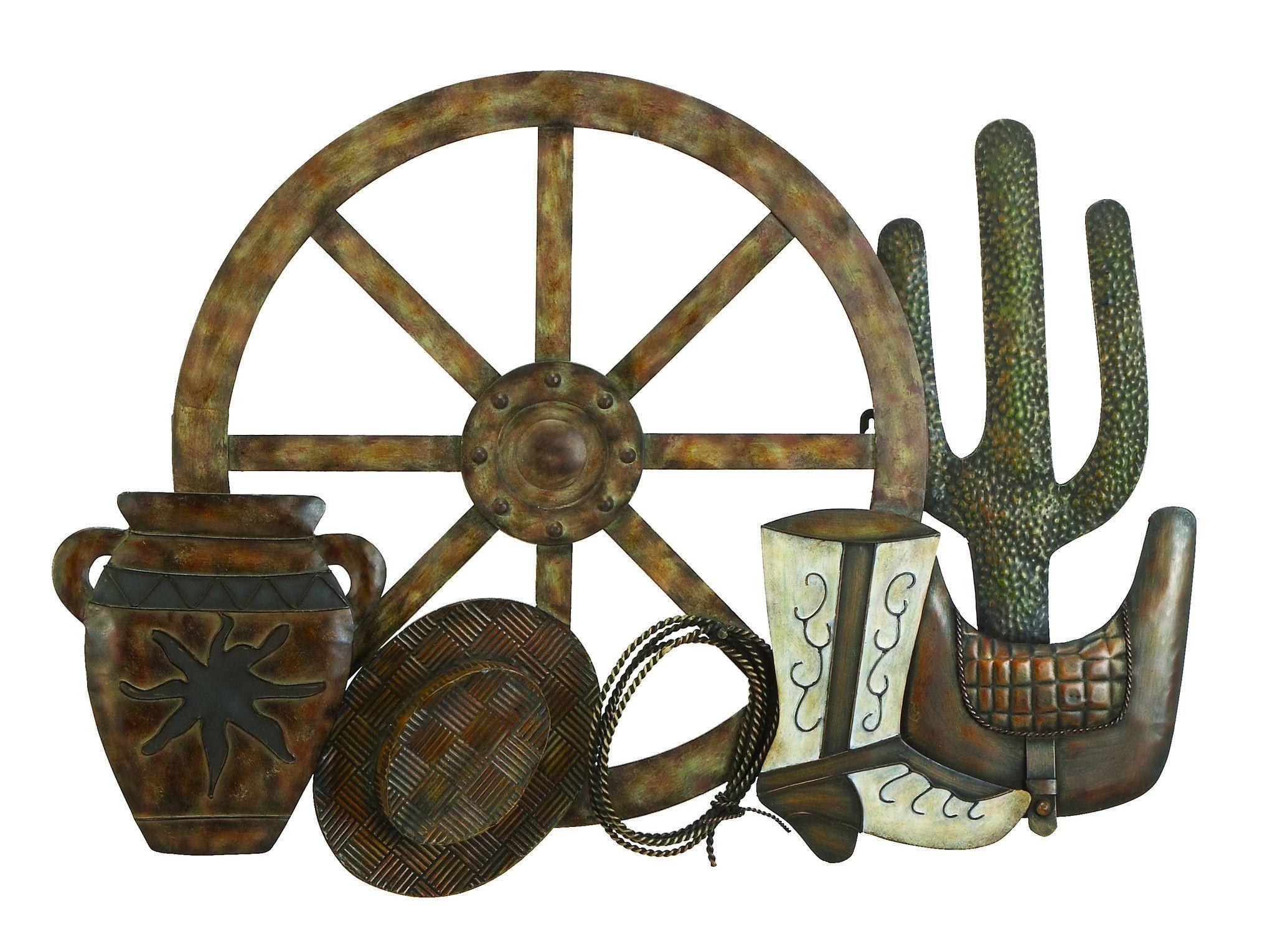 Wooden Wagon Wheel Wall Decor from visualhunt.com