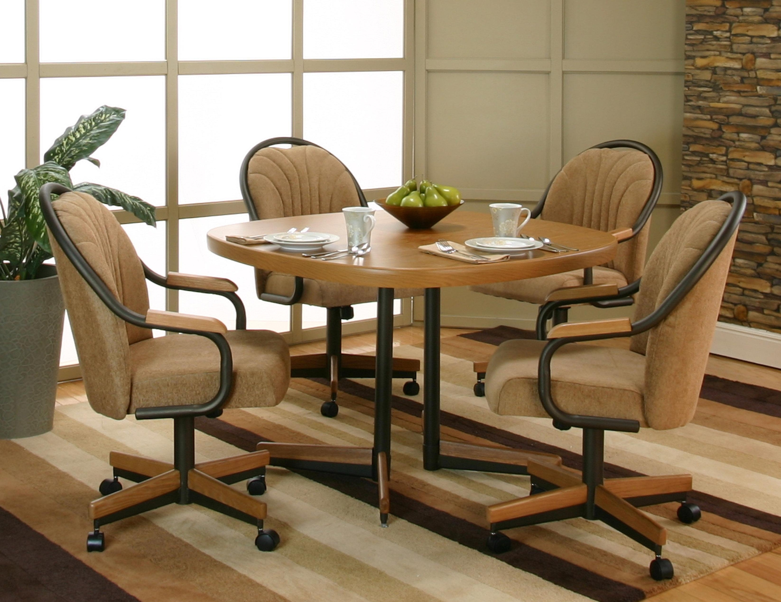 Set Of 4 Kitchen Chairs With Casters, Padded Dining Room Chairs With Casters