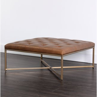 50 Square Leather Ottoman Coffee Table