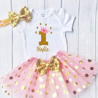 Funmunchkins Personalized Baby Girls 1st Birthday Outfit Sparkly Gold Glittering Font Design With Tutu
