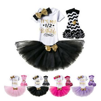 Baby Girls It/'s My 1//2 1st Birthday Tutu Romper Skirt Party Dress 4PCS Outfits
