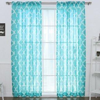 Geometric Sheer Rod Pocket Curtain Panels (Set of 2)
