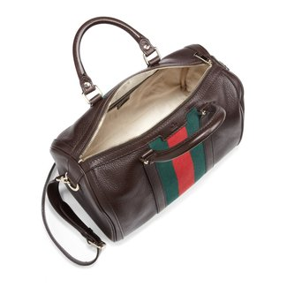 f8777fc4111f Gucci Vintage Web Medium Boston Bag in Brown (dark brown