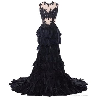 Heartgown Women's Sheer Lace Feather Ruffles Sweep Train Organza Gothic Wedding Dress
