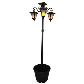 "Heritage Solar Powered Flame 3-Light LED 78"" Post Light"