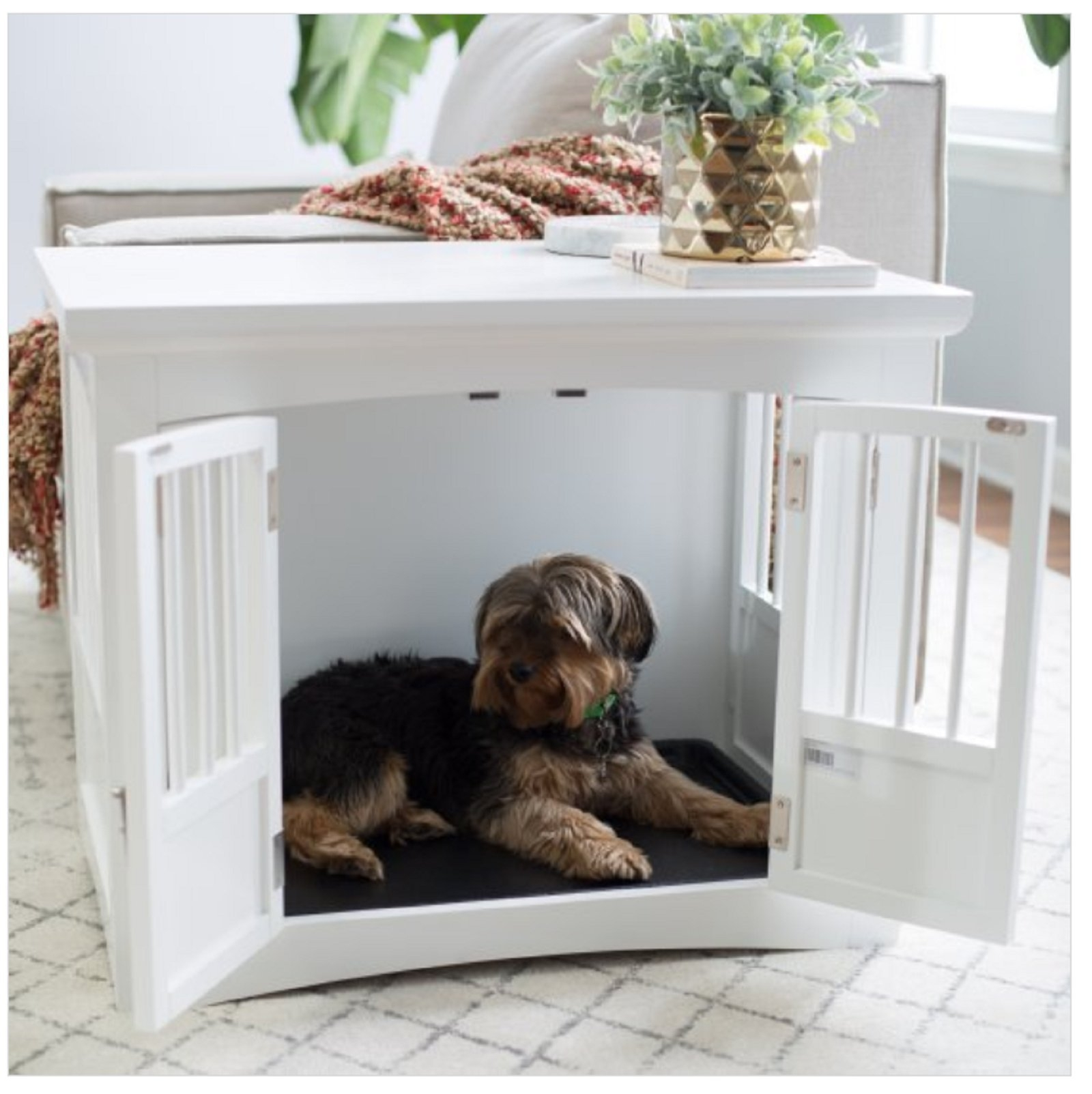 Indoor Dog Crate End Table 2 Door White Wood Bed Kennel Furniture Bedroom