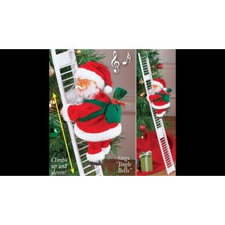 Santa Claus Climbing On Rope Ladder Christmas Tree Indoor Outdoor Ornament Decor