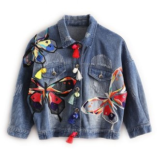 Huiwa Womens Denim Jacket colorful Butterfly Embroidery Jeans Jackets Patch Designs