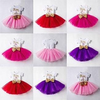 9a07f2bef194 IBTOM CASTLE Baby Girls Newborn It s My 1st 2nd Birthday Cake Smash Shinny  Printed Sequin