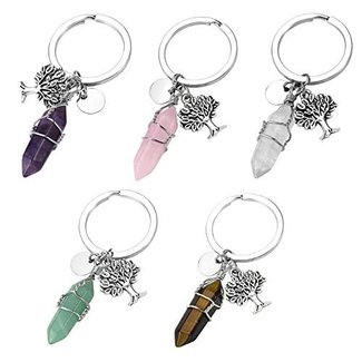Jovivi Hexagonal Gemstone Wire Wraped Crystal Healing Point Chakra Pendant Keychain Silver Tree of Life Charm Keyring