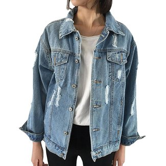 JudyBridal Oversize Denim Jacket Women Ripped Jean Jacket Boyfriend Long Sleeve Coat