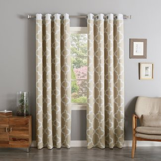 Lakeview Geometric Room Darkening Grommet Curtain Panels (Set of 2)